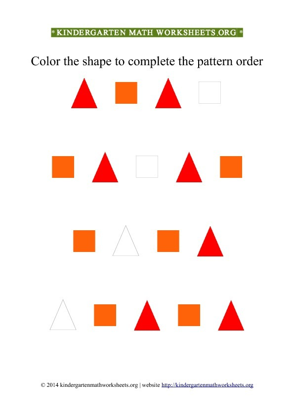 Kindergarten Color Patterns Triangles Squares