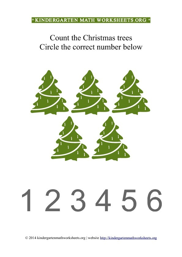 Kindergarten Count and Circle green Christmas trees Worksheet