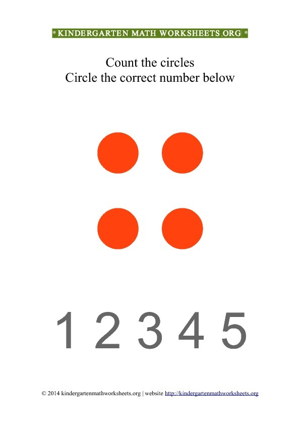 Kindergarten Count and Circle red circle shapes Worksheet