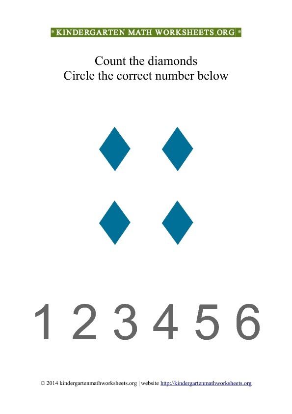Kindergarten Count and Circle blue diamond shapes Worksheet