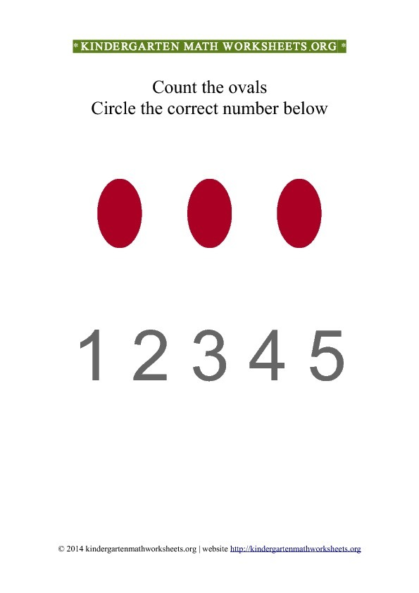 Kindergarten Count and Circle red ovals Worksheet