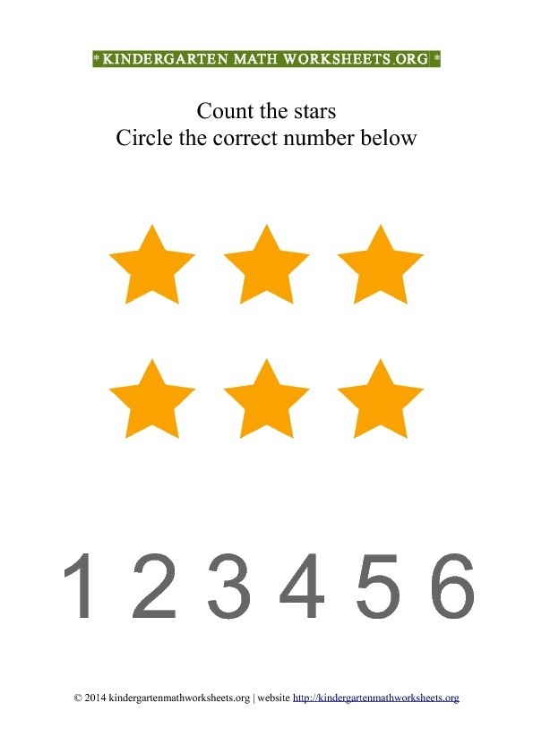 Kindergarten Count and Circle yellow stars Worksheet