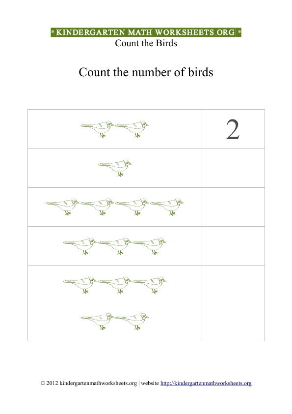 Kindergarten Math Counting Birds