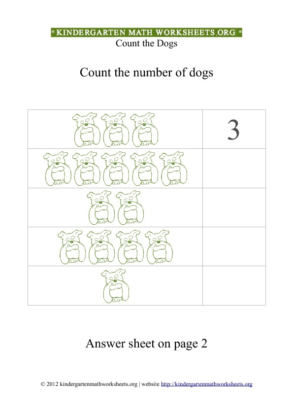Kindergarten Math Counting Dogs