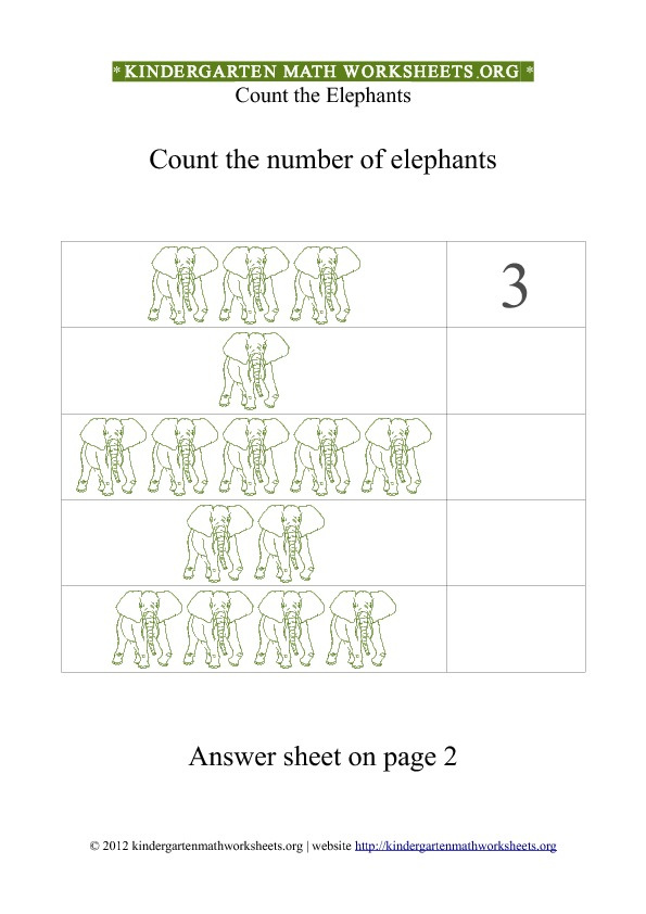 Kindergarten Math Counting Elephants