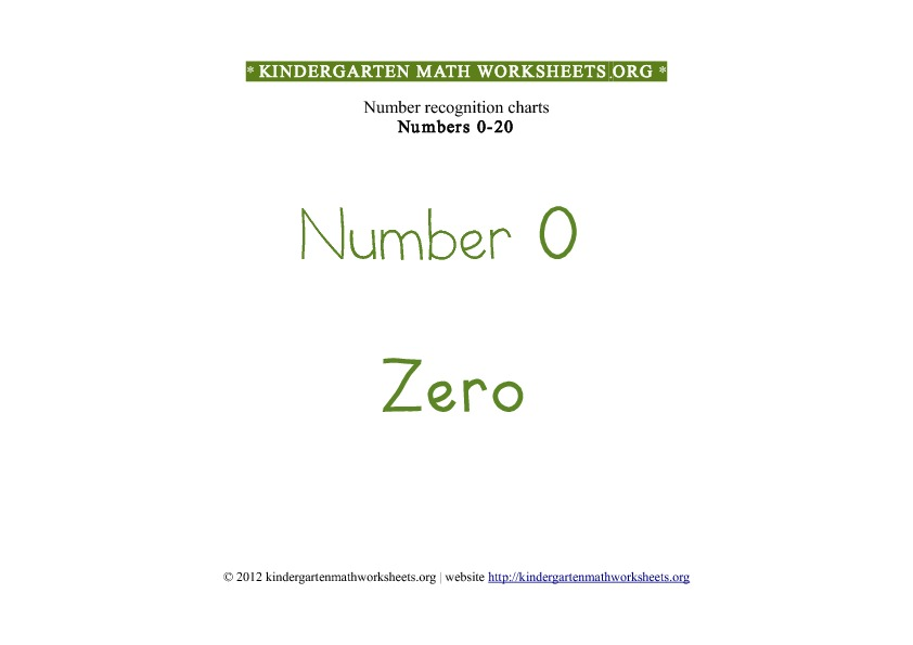 Kindergarten math worksheets number recognition 0 to 20