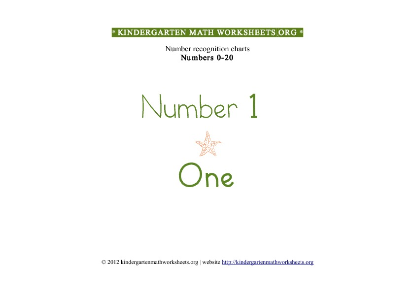 Kindergarten Math Number Recognition Number 1