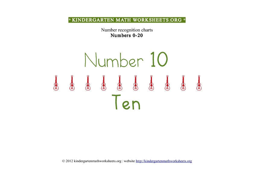 Kindergarten Math Number Recognition Number 10