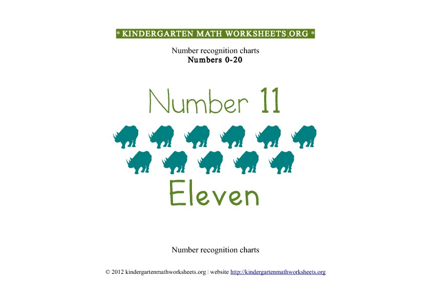 Kindergarten Math Number Recognition Number 11