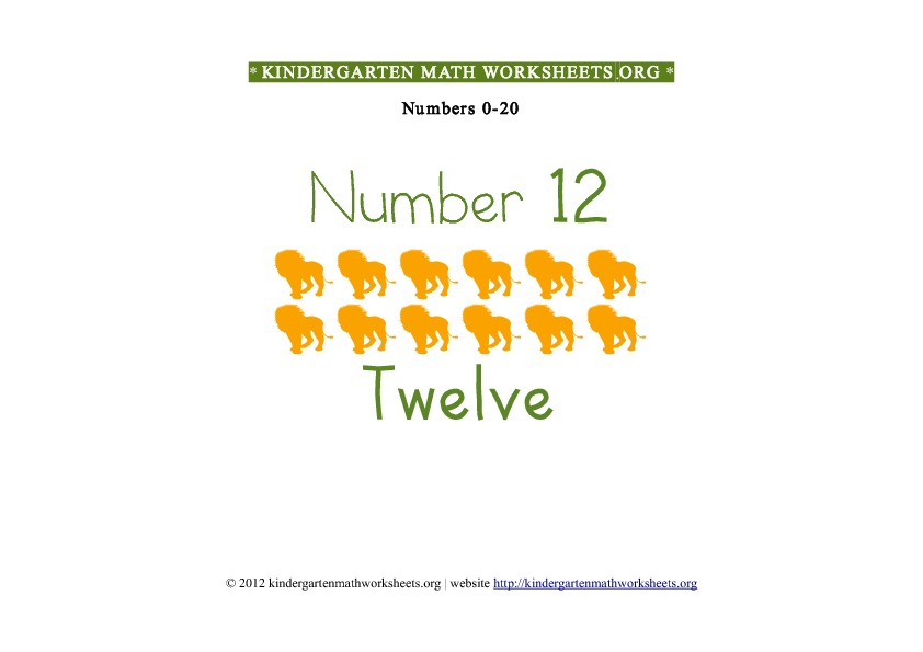 Kindergarten Math Number Recognition Number 12