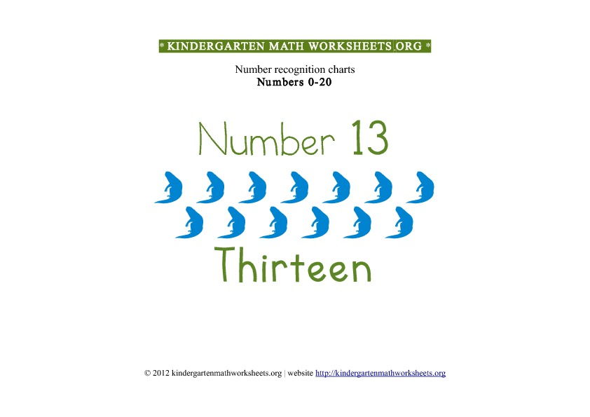 Kindergarten Math Number Recognition Number 13