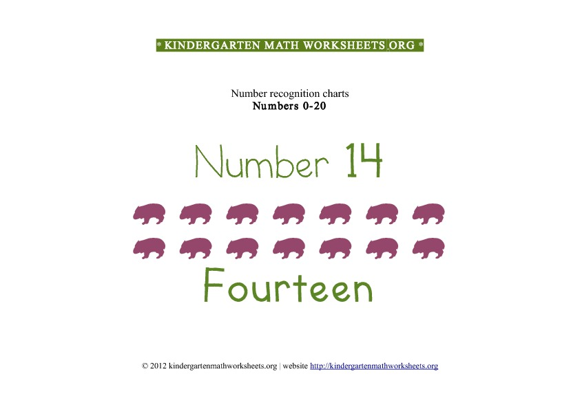 Kindergarten Math Number Recognition Number 14
