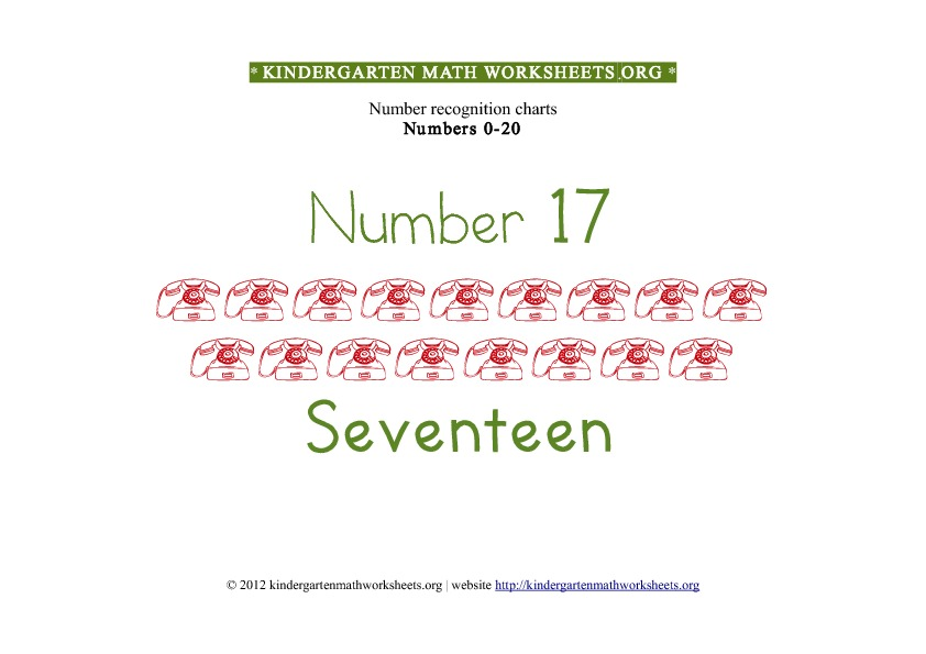 Kindergarten Math Number Recognition Number 17