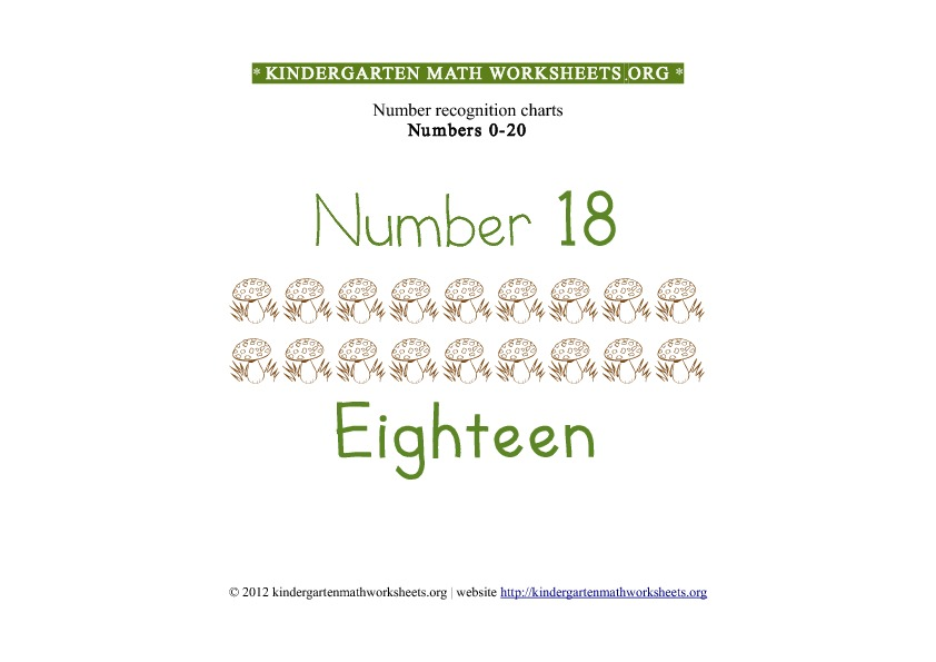 Kindergarten Math Number Recognition Number 18