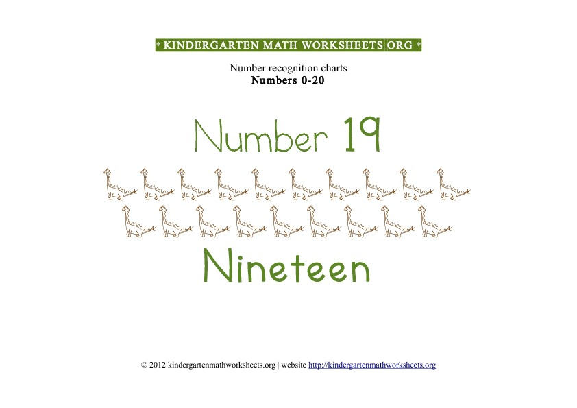 Kindergarten Math Number Recognition Number 19
