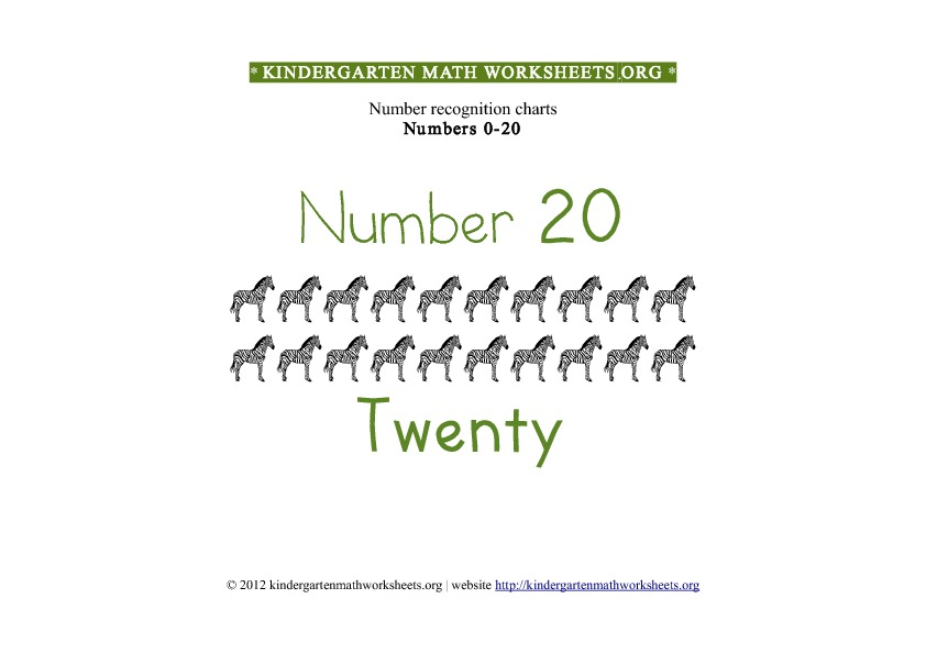 Kindergarten Math Number Recognition Number 20