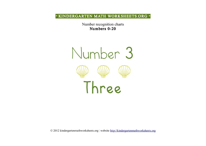 Kindergarten Math Number Recognition Number 3