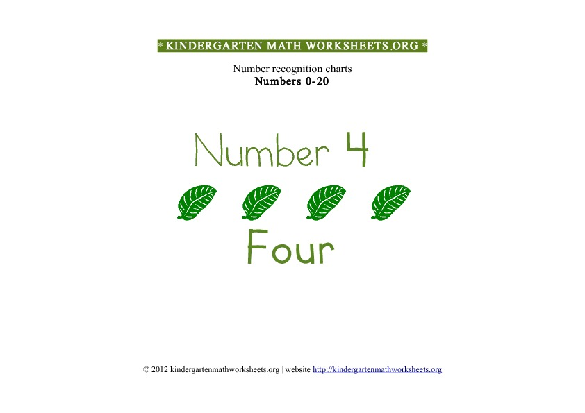 Kindergarten Math Number Recognition Number 4