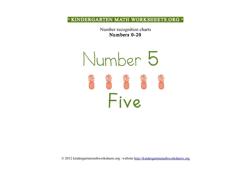 Kindergarten Math Number Recognition Number 5