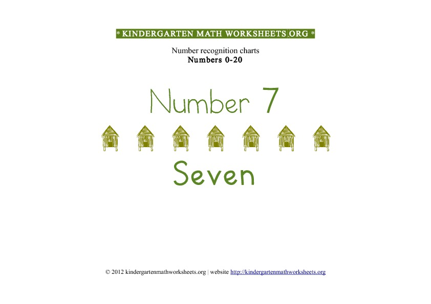 Kindergarten Math Number Recognition Number 7