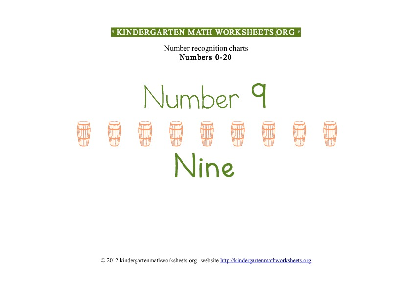 Kindergarten Math Number Recognition Number 9