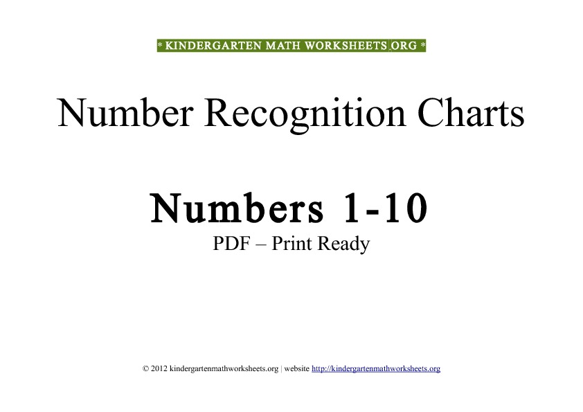 Kindergarten Math Numbers 110 – Number Recognition Worksheets