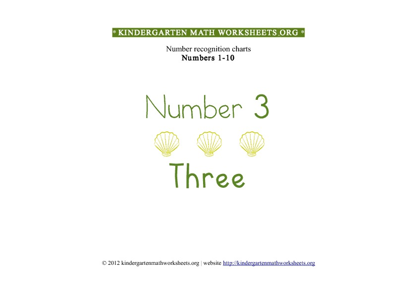 Kindergarten Math Numbers 1-10 Number 3