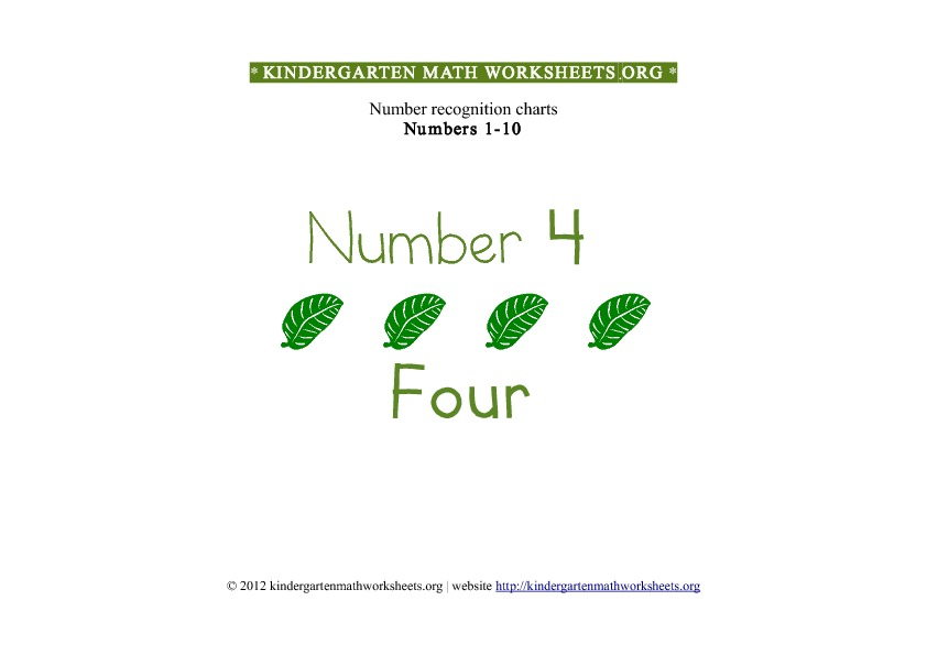 Kindergarten Math Numbers 1-10 Number 4