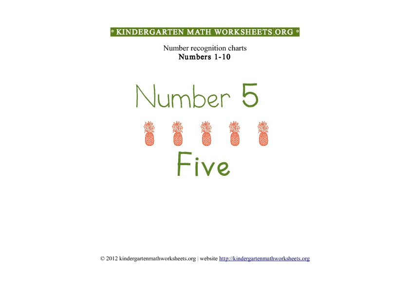 Kindergarten Math Numbers 1-10 Number 5