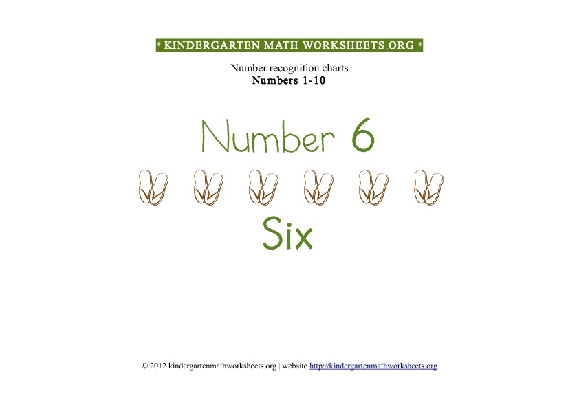 Kindergarten Math Numbers 1-10 Number 6