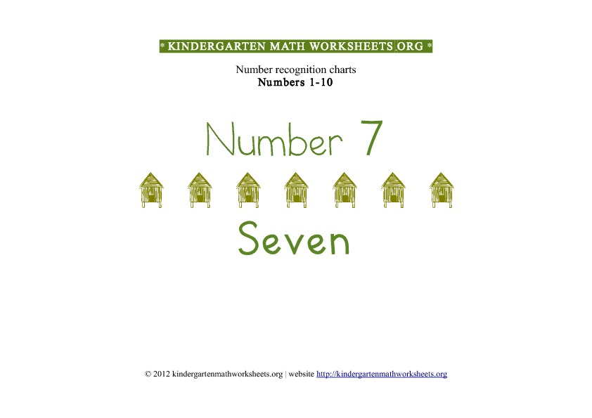 Kindergarten Math Numbers 1-10 Number 7