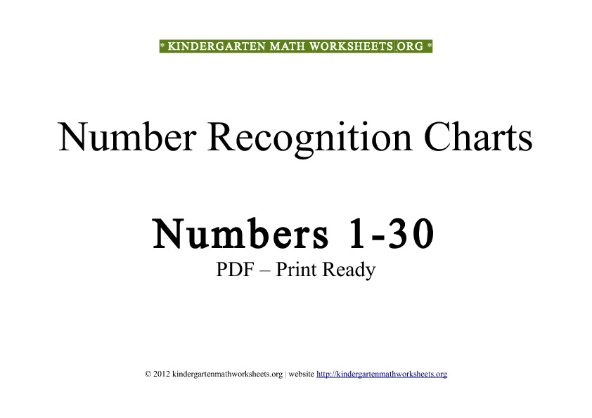 Kindergarten math worksheets number recognition 1-30
