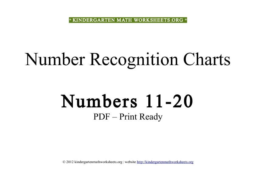 Kindergarten math worksheets number recognition 11 to 20