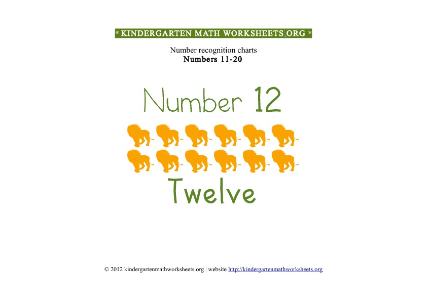 Kindergarten Math Numbers 11-20 Number 12