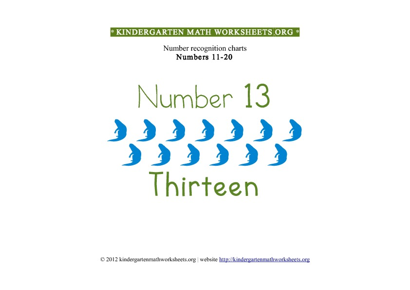 Kindergarten Math Numbers 11-20 Number 13