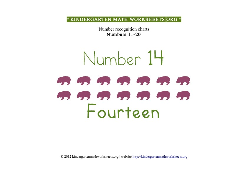 Kindergarten Math Numbers 11-20 Number 14