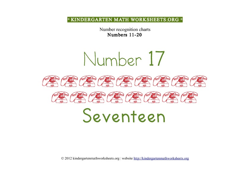 Kindergarten Math Numbers 11-20 Number 17