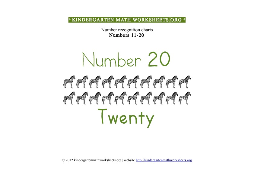 Kindergarten Math Numbers 11-20 Number 20