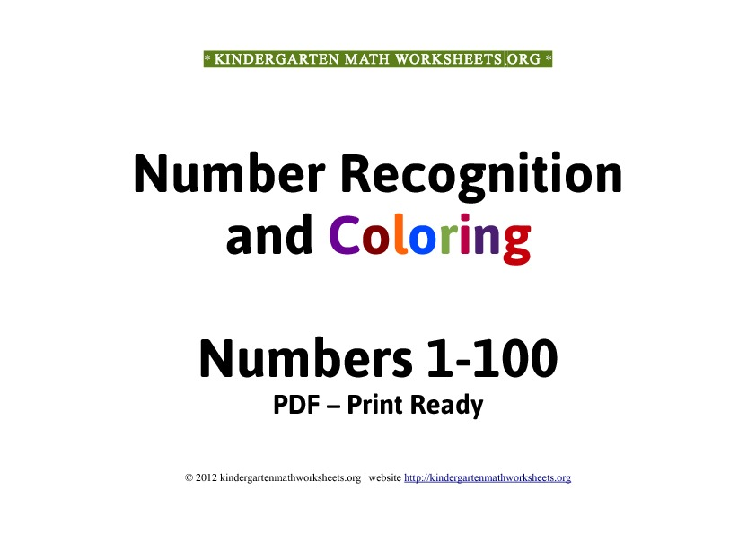 Kindergarten math worksheets number recognition 1-100