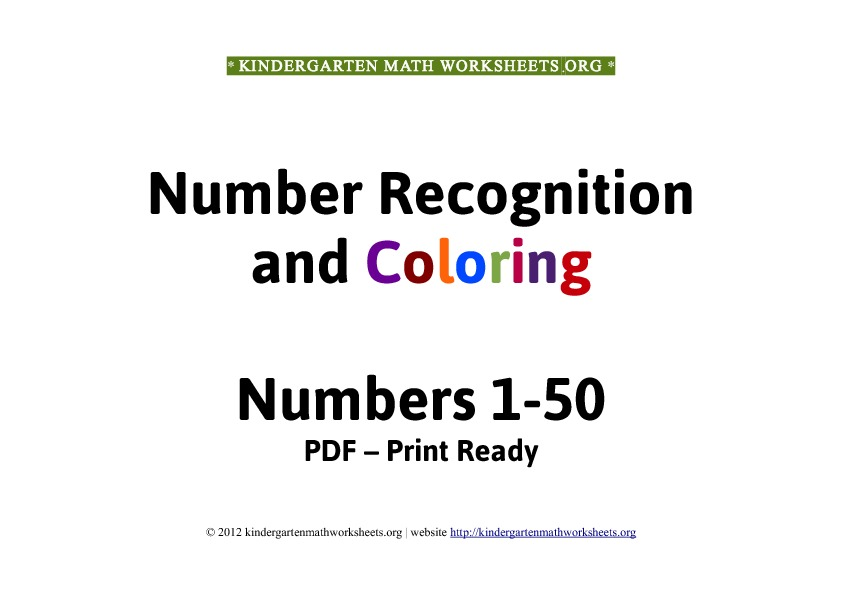 Kindergarten math worksheets number recognition 1-50