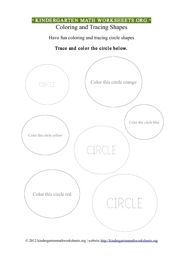 Kindergarten Shapes Circles Worksheet