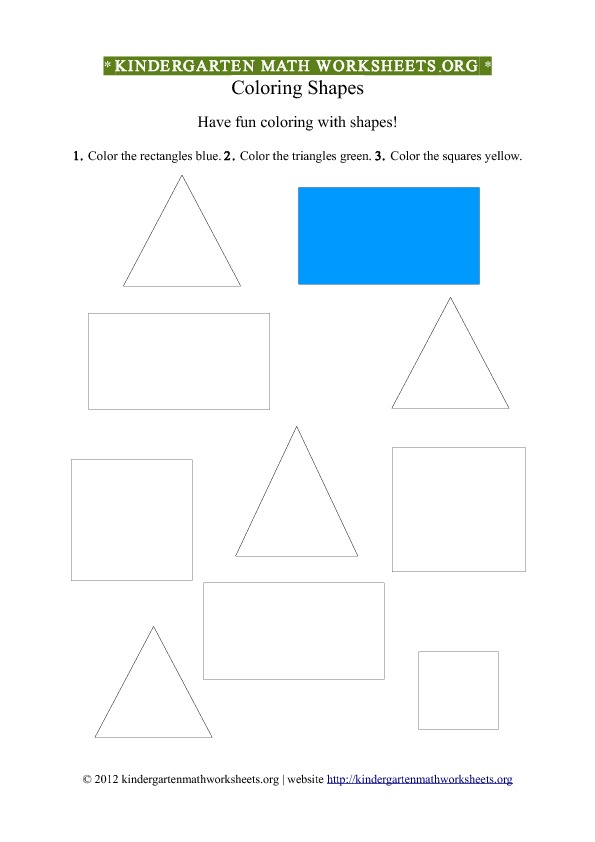 Kindergarten Shapes Worksheet Coloring #2