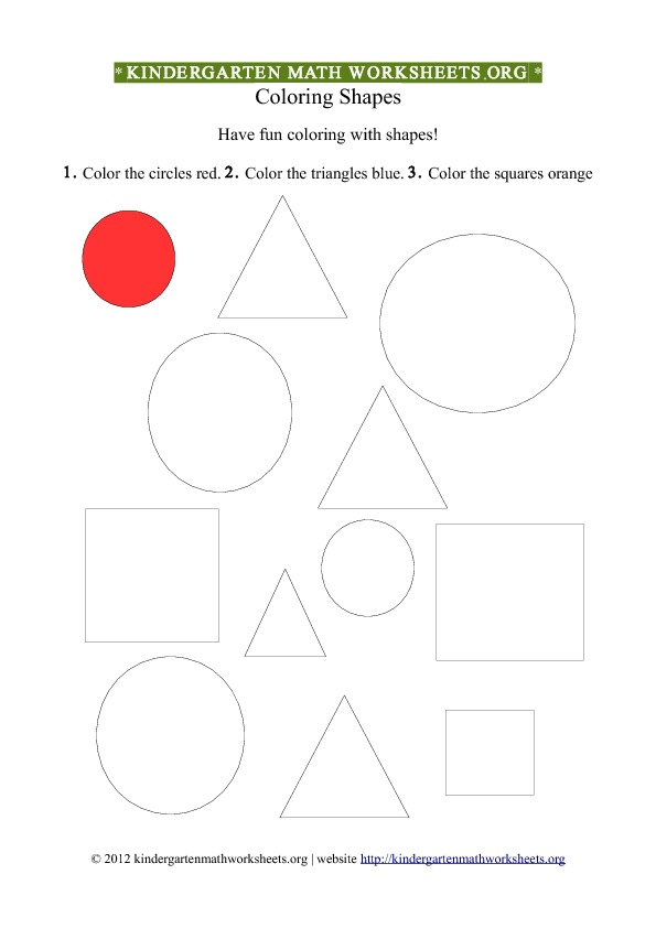 Kindergarten Shapes Worksheet Coloring #1