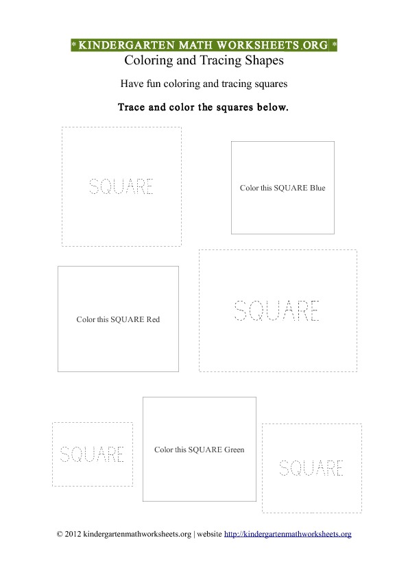 Kindergarten Shapes Squares Worksheet