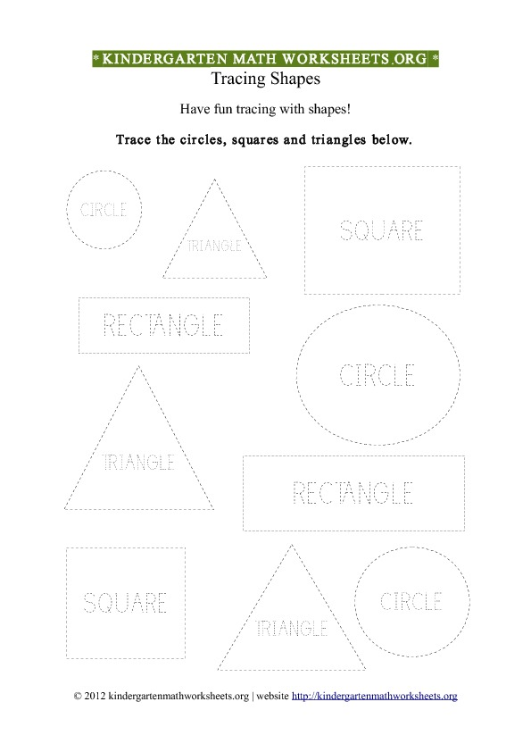 Kindergarten Shapes Tracing Worksheet