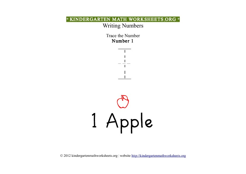 Kindergarten Math Number 1 Tracing Worksheet