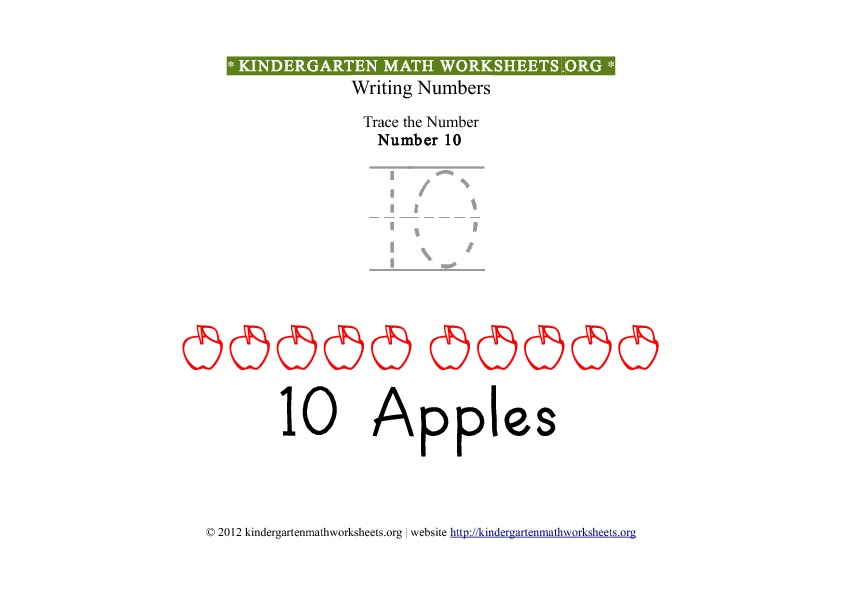 Kindergarten Math Number 10 Tracing Worksheet