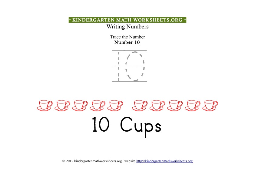 Kindergarten Math Tracing Worksheets Number 10