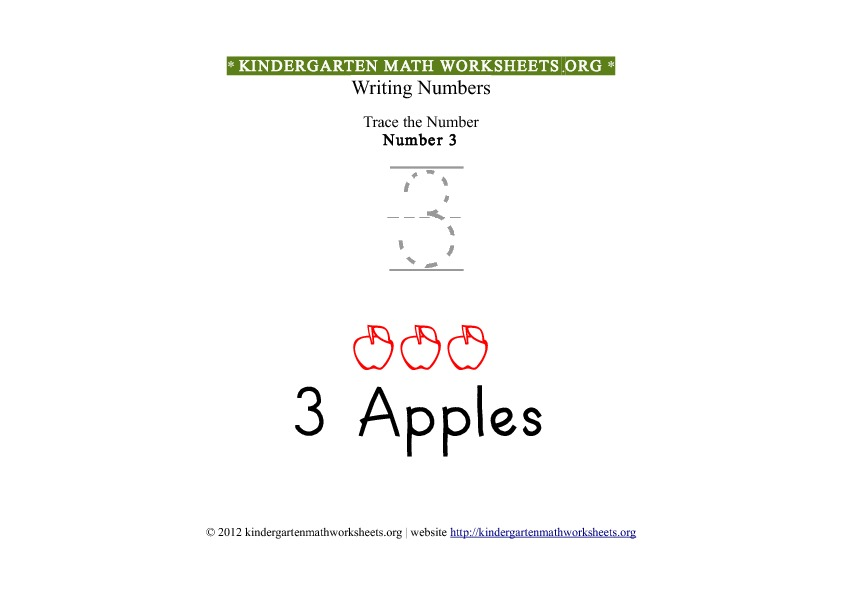 Kindergarten Math Tracing Worksheets Number 3