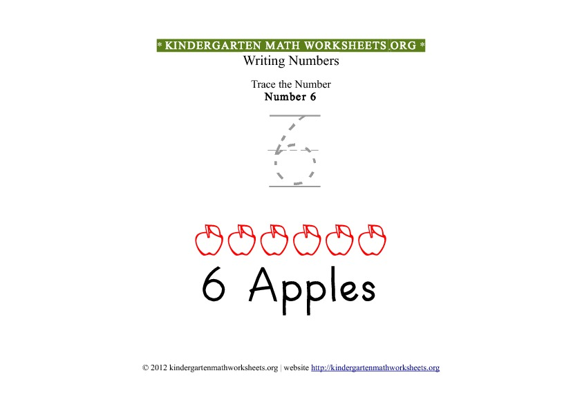 Kindergarten Math Number 6 Tracing Worksheet
